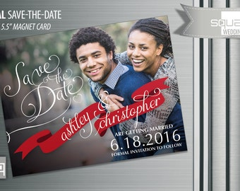 Bespoke Save the Date Photo Magnets - Custom Save-the-Date Photo Magnet Cards - Ribbon style Magnetic Cards Engagement - CASAL Designer card