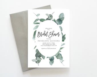 Bridal Shower Invitation, Eucalyptus Bridal Shower Invitation, Rustic Bridal Shower Invitation, Unique Bridal Shower Invitations, Botanical