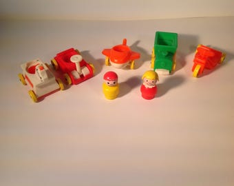 Vintage play family little riders Fisher price 1976