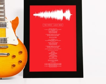 Framed Song Lyrics with actual sound wave of your choice - Personalized gift for him