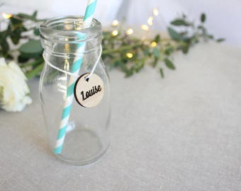 Wedding names for gifts, drinks - Wooden wedding tags engraved, timber wedding favor tags