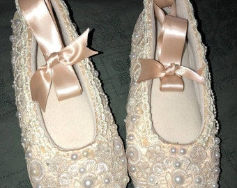 Champagne BALLET Slippers Bridal  CELTIC Wedding Blessing Symbol Pearls SWAROVSKI Crystals Comfortable Gorgeous Custom Colors Sale Now