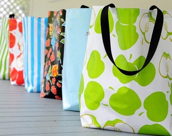 market tote RETIRED PRINTS // oilcloth grocery bag - market bag - teacher gift