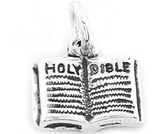 Sterling Silver Open Holy Bible Book Charm (3d charm)
