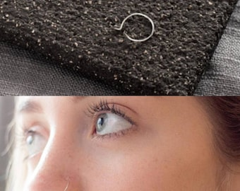 Very thin False Nose ring Silver Sterling, Fake Nose ring Hypoallergenic, Tragus Piercing, Cartilage Ring, Septum Ring, Piercing, Hoop
