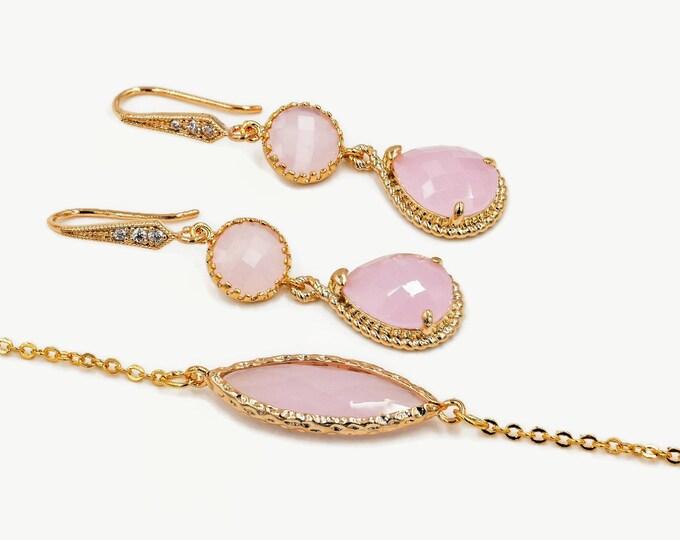 Pastel bracelet, light pink opal, Gold, bridesmaids gift, drop earrings, mint green, wedding jewellery set, cubic zirconia, dangle drop