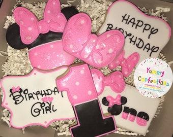 Minnie Mouse; 1st Birthday Cookies; Minnie Mouse Birthday Cookies; Pink and Black Cookies; Sugar Cookies - 1 Dozen (12 Cookies) - 1 Dozen (1