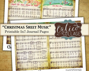 Christmas, Sheet Music, Journal Pages, Printable Ephemera, Digital Download, Printable Journal, Junk Journal Pages, Printable Download