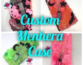 custom menhera decoden case, cute phone case, decoden case, whipped phone case, decoden phone case, decocase