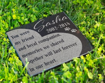 Personalized Memorial Pet Stone Granite - No Longer By My Side Engraved Headstone, Burial Cemetery Stone Grave Marker for Best Companion #17