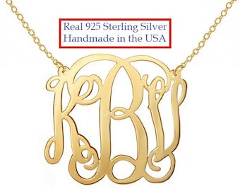 1.25 inch Personalized Monogram Necklace 1.25 inch 18k Gold plated Any initial Monogram made with 925 silver Bridesmaid gift