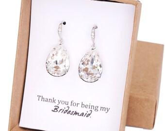Carrie - Swarovski Crystal Teardrop Earrings, Bridesmaid Earrings, Bridal Jewelry, Wedding Jewelry, Silver Brides Earrings, Cubic Zirconia
