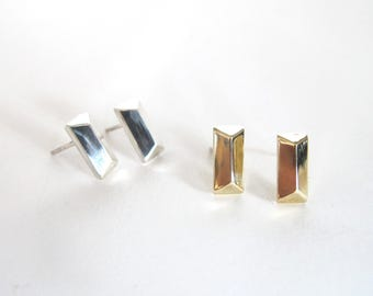 Bar stud post small simple minimalist bar stud earring geometric faceted rectangular stud post earring in silver or brass