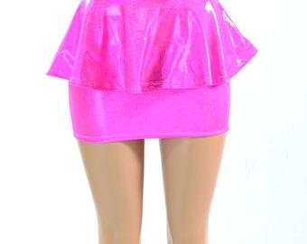Neon Pink Holographic Bodycon Peplum Mini Skirt  -150775