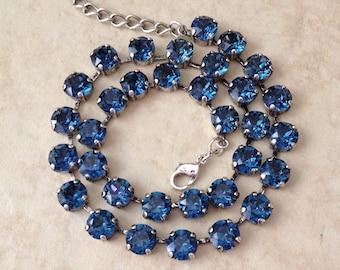 Swarovski navy blue crystal necklace, bridal, bridesmaid gift, vintage wedding, Swarovski tennis necklace, sapphire, London blue