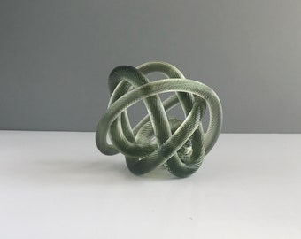 Vintage Glass Knot, Vintage Ribbed Green Glass Knot, Vintage Large Blown Glass Knot Paperweight