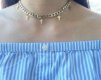 Golden Cross Choker Necklace
