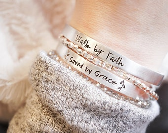Religious Cuff Bracelet - Saved by Grace - Walk by Faith