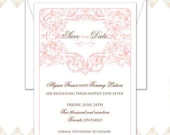 Vintage Save the date, Vintage Wedding, Vintage Wedding Theme, Vintage detail, Victorian design, Cursive, traditional, save the date, scroll