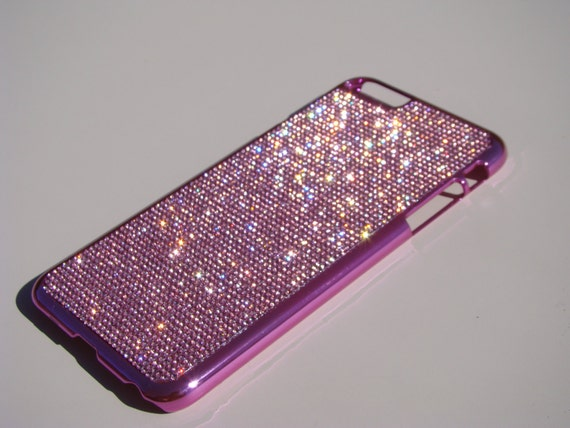 iPhone 6 Plus Case / iPhone 6s Plus Case Pink Diamond Rhinestone Crystals on Pink Chrome Case. Velvet/Silk Pouch Bag Included, .