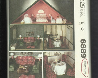 1979 McCalls 6889 Two Story Doll House & Furniture UNCUT