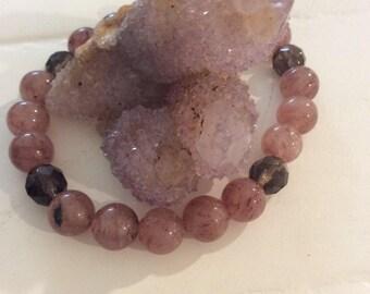 Universal Love, Gratitude, Grounding Strawberry & Smoky Quartz bracelet