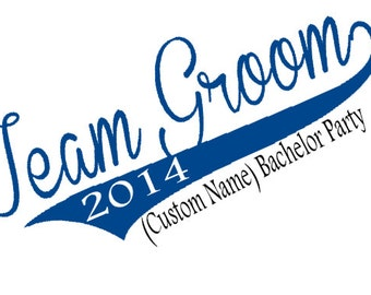 Team Groom Wedding or Bachelor Party Personalized Iron On Transfer - DIY No Sew