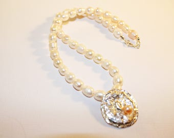 Precious Metal Clay Pendant w/Pearls