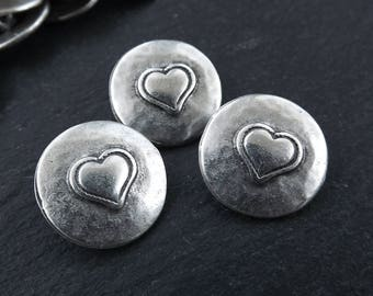 3 Rustic Metal Heart Buttons Matte Antique Silver Plated - Round Silver Buttons, Metal Shank Button, Sewing Buttons, Jewelry Making Buttons