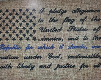 Pledge of Allegiance Machine Embroidery Design PES (DST 8x12 hoop only)