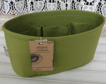 Size SMALL /  10.5 x 3.5 x 6H oval / Ready to ship / Purse ORGANIZER Insert Shaper / Olive Green / STURDY / Choice of bottom type