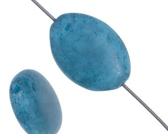 10 Pieces Czech Glass Flat Oval - BLUE MARBLE 16x11mm (PG232501)