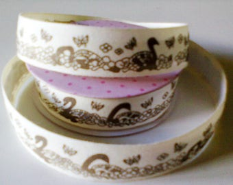 cotton tape Ribbon: Swan and flower