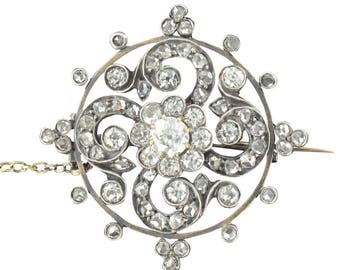 Broche diamants ancienne or rose argent