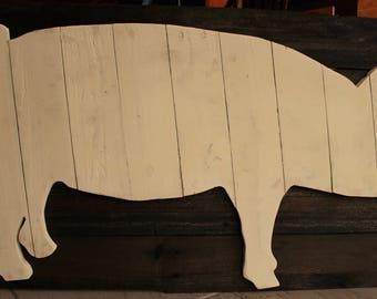 Wooden Pig Wall Art