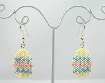 Beaded Easter Egg Earrings in Pale Yellow and Blue - Easter Jewelry
