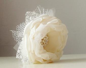 Wrist Corsage,  Wedding Corsage,  Fabric Flower Corsage,  Pearl Bracelet,  Ivory Corsage