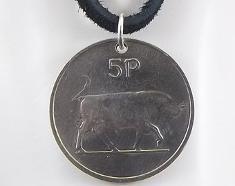 Irish Coin Necklace, Bull Pendant, 5 Pingin, Coin Pendant, Leather Cord, Mens Necklace, Womens Necklace, Birth Year, 1976
