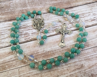 Amazonite and Opalite gemstone Traditional Catholic Rosary with Miraculous medal
