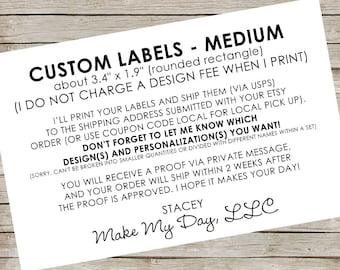 "Custom Labels - medium ~ about 3.4"" x 1.9"" (rounded rectangle) ~ RESERVED for Facebook friends"