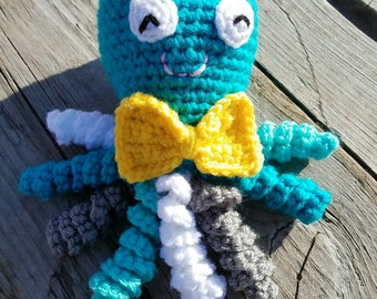 Octopus,Custom Made,Octopus Amigurumi,Octopus Toy,Octopus Plushy,Plush Octopus,Octopus Stuffed Animal,Bow tie,Octopus with bow tie,Sealife