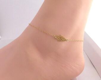 Gold hamsa anklet , Gold filled hamsa anklet , gold hand anklet , jewish jewelry , kabala jewelry , bat mitzva gift , summer jewelry