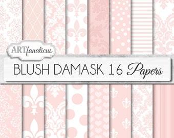 "Blush Damask digital papers ""BLUSH DAMASK"" elegant, pink, white, blush damask, weddings,showers, scrapbooking,birthday, invites,home décor"