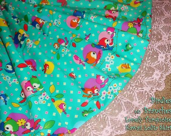 Birdies on Branches Mint Turquoise Kawaii Lolita Skirt - ANY SIZE
