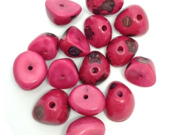 1 Tagua Nut half, pink, 22mm, 1 piece, Tagua pendant, Tagua bead, bead, natural jewelry, natural bead, South America, exotic