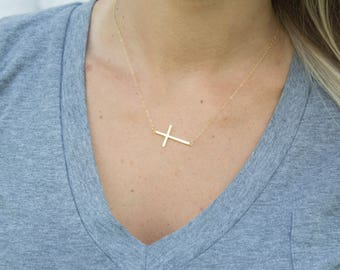Cross necklace etsy silvergoldrose gold sideways thin plain cross necklace simple cross necklace aloadofball Image collections