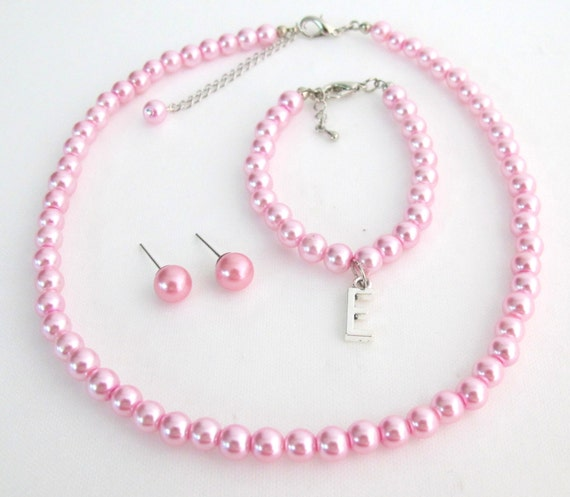 Pink Pearl Set With Initial Bracelet Necklace Stud Earrings Flower Girl pearl Necklace Bracelet Earrings Set Free Shipping In USA