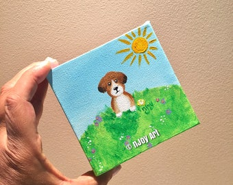 Whimsical dog on a hill painting, 4x4 inch acrylic art