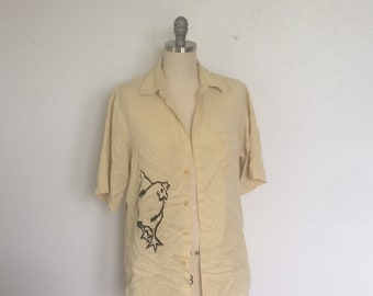 Chicken Screen Printed Button Up Shirt