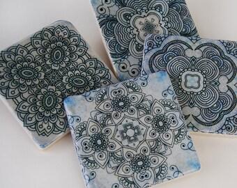 Blue Henna Coaster Set